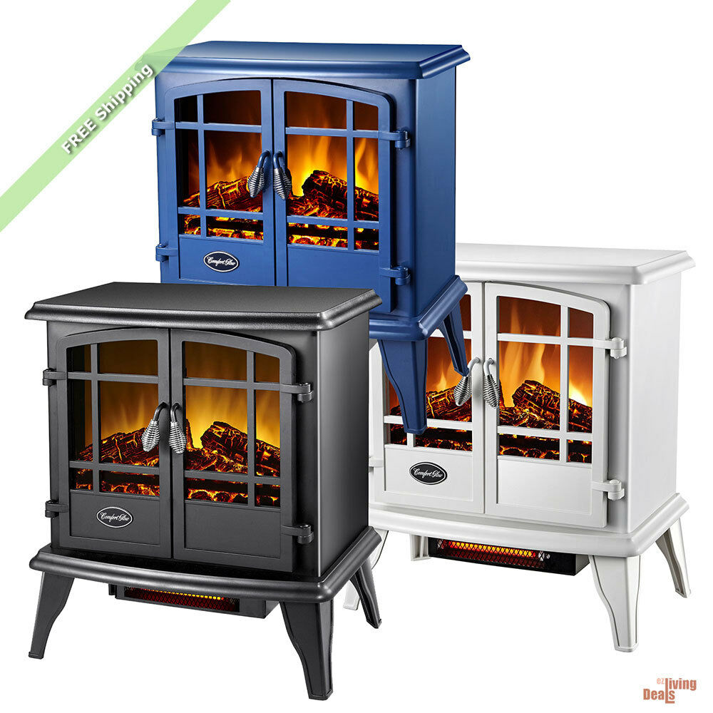 Comfort Glow Quartz Electric Fireplace 1500 Watt Heater Stove Flame Log Portable  eBay