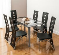 Glass Dining Room Table Set and 4 or 6 Faux Leather Chairs