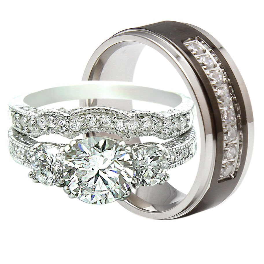 3PCS His And Hers Titanium 925 Sterling Silver Wedding Bridal Matching Ring Set  eBay