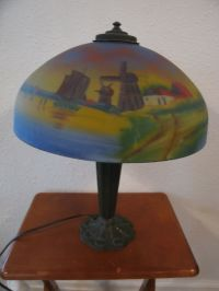 Antique Chicago Arts & Crafts Reverse Painted Chipped Ice ...