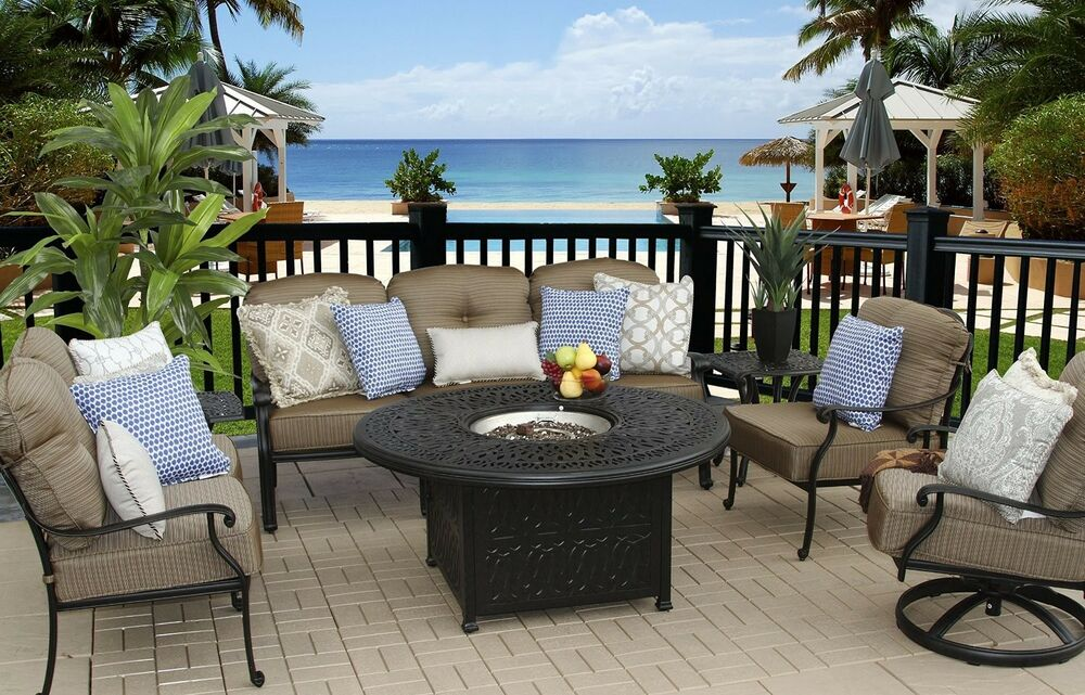 7 PC PATIO DEEP SEATING SET 52 ROUND FIRE PIT WITH END