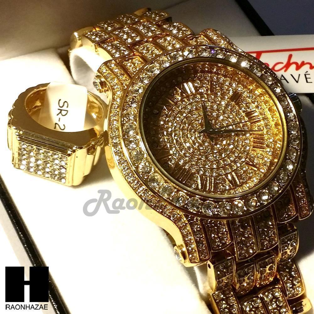 pave HIP HOP ICED OUT RAPPER GOLD FINISHED SIMULATED