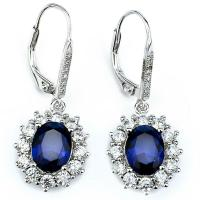 925 Sterling Silver Blue Sapphire&CZ Snowflake Leverback