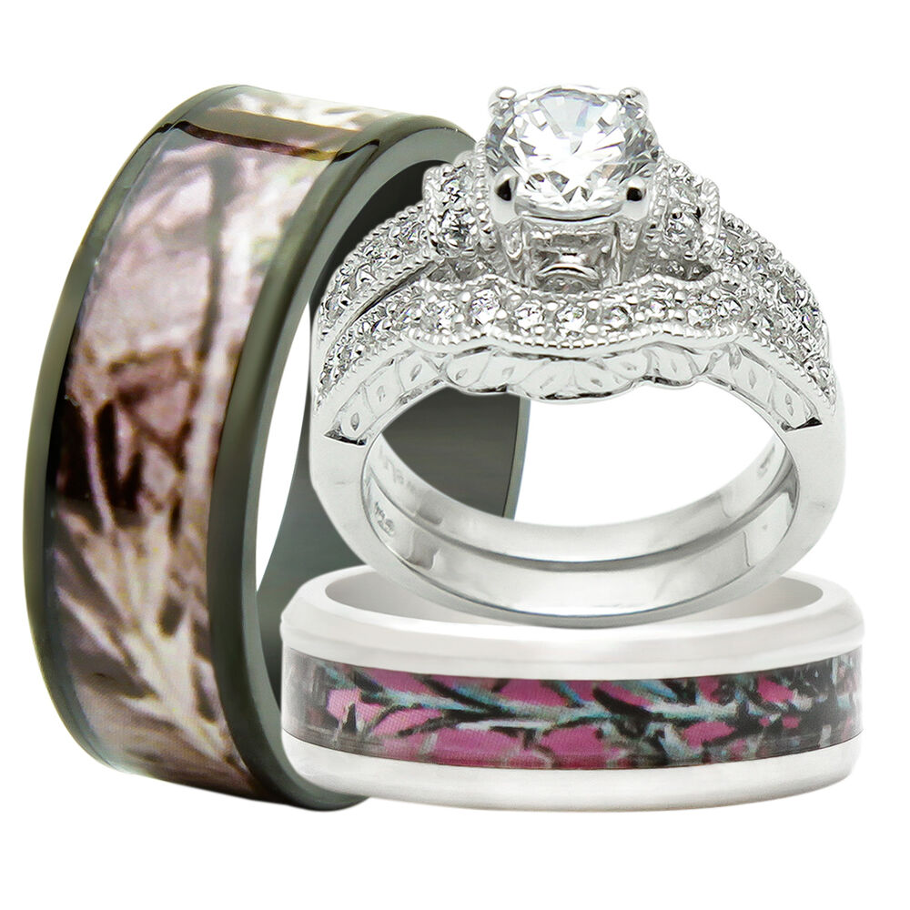 4pcs His Amp Hers Titanium Camo 925 Sterling Silver Wedding