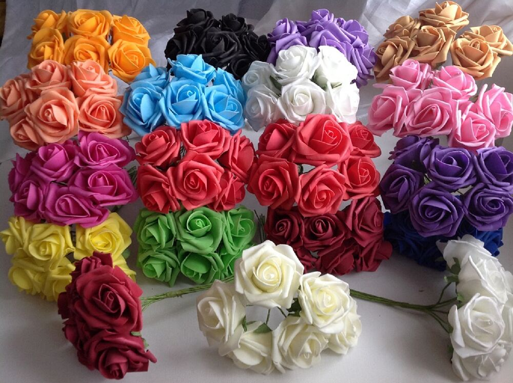 1 LARGE BUNCH OF ARTIFICIAL FOAM ROSES WEDDING FLOWERS
