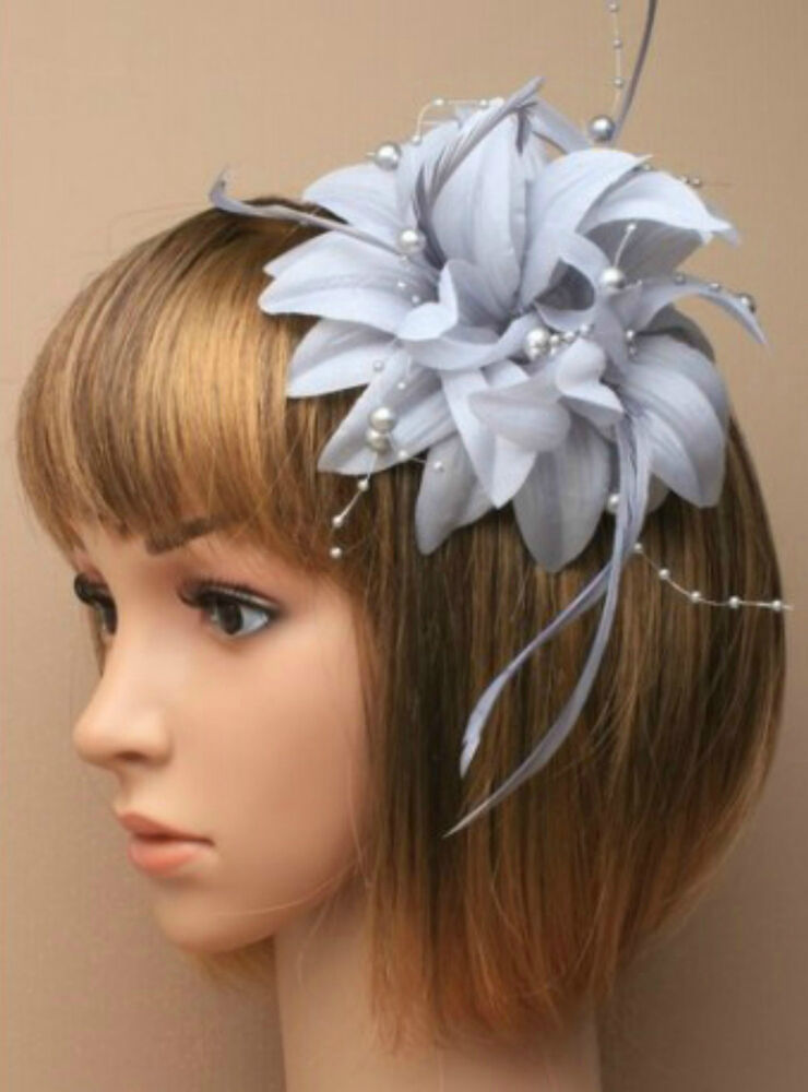 Silver Grey Beaded Feather Fascinator Clip Brooch Pin Hat