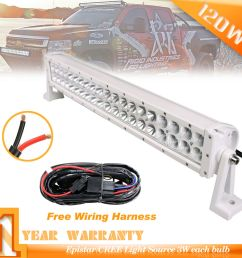 22inch 120w combo white led light bar wiring kit 6000k for installing led headlights jeep wrangler wiring led light bar jeep jk [ 1000 x 1000 Pixel ]