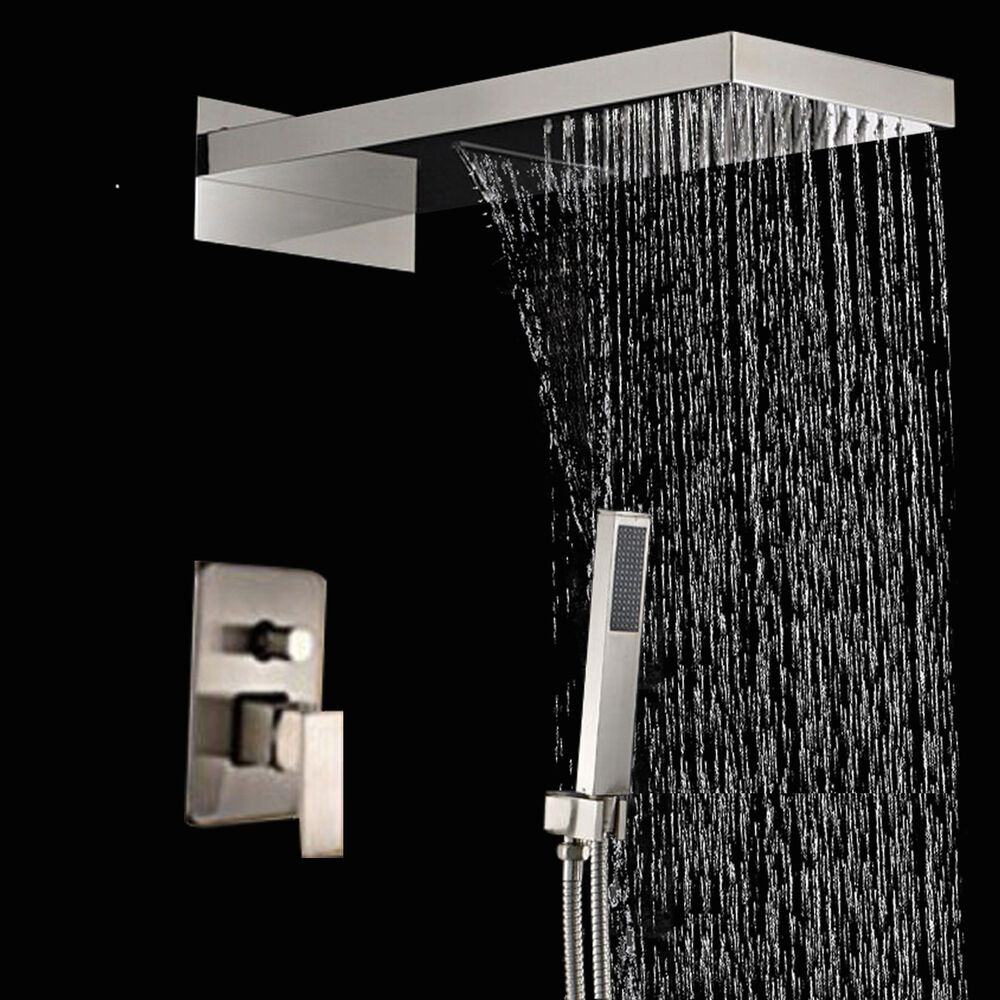 Modern Brushed Nickel 22 Waterfall Rain Square Shower Head Valve Mixer Tap  eBay
