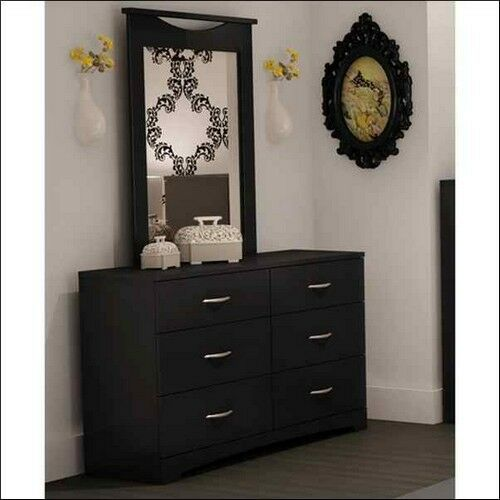6 Drawer Dresser And Mirror Furniture Set 2 Piece Storage Chest Bedroom Black  eBay