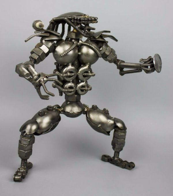 Scrap Metal Sculpture Model Recycled Handmade Art Predator