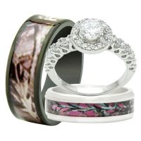 His and Hers 3PCS Titanium Camo 925 Sterling Silver ...