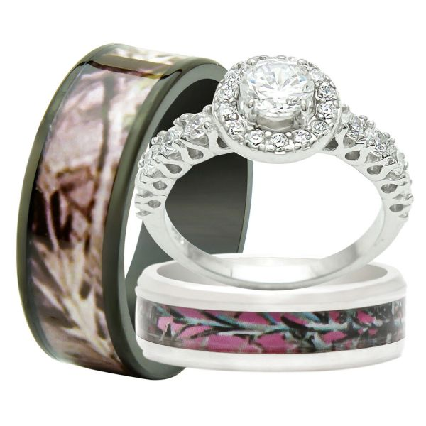 And 3pcs Titanium Camo 925 Sterling Silver Engagement Wedding Rings Set