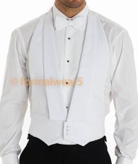 MENS WHITE TIE MARCELLA DRESS BACKLESS EVENING WAISTCOAT ...