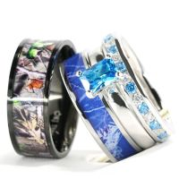4pcs His Hers Camo Blue Radiant Stainless Steel Sterling ...