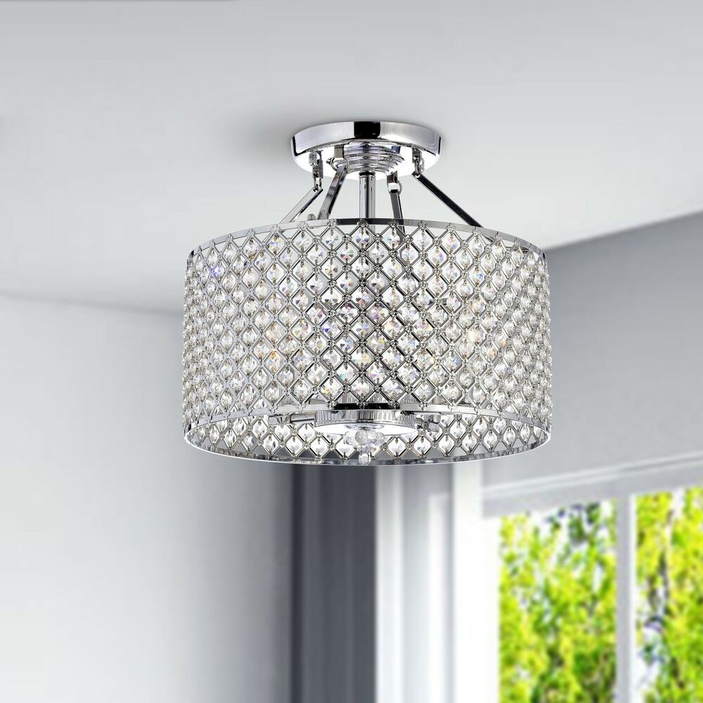 Crystal Chandelier Lighting Chrome 4 Light Round Ceiling