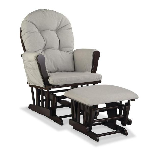 Nursery Glider Chair Baby Rocker Furniture Ottoman Set Beige Cushion Dark Wood