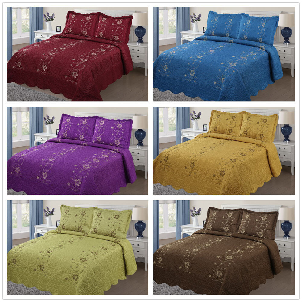 3Pc Embroidery Quilts Bedspread Set Bedding Coverlet