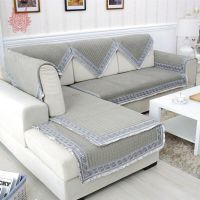 Grey velvet quilted sofa cover quilting slipcovers canape ...