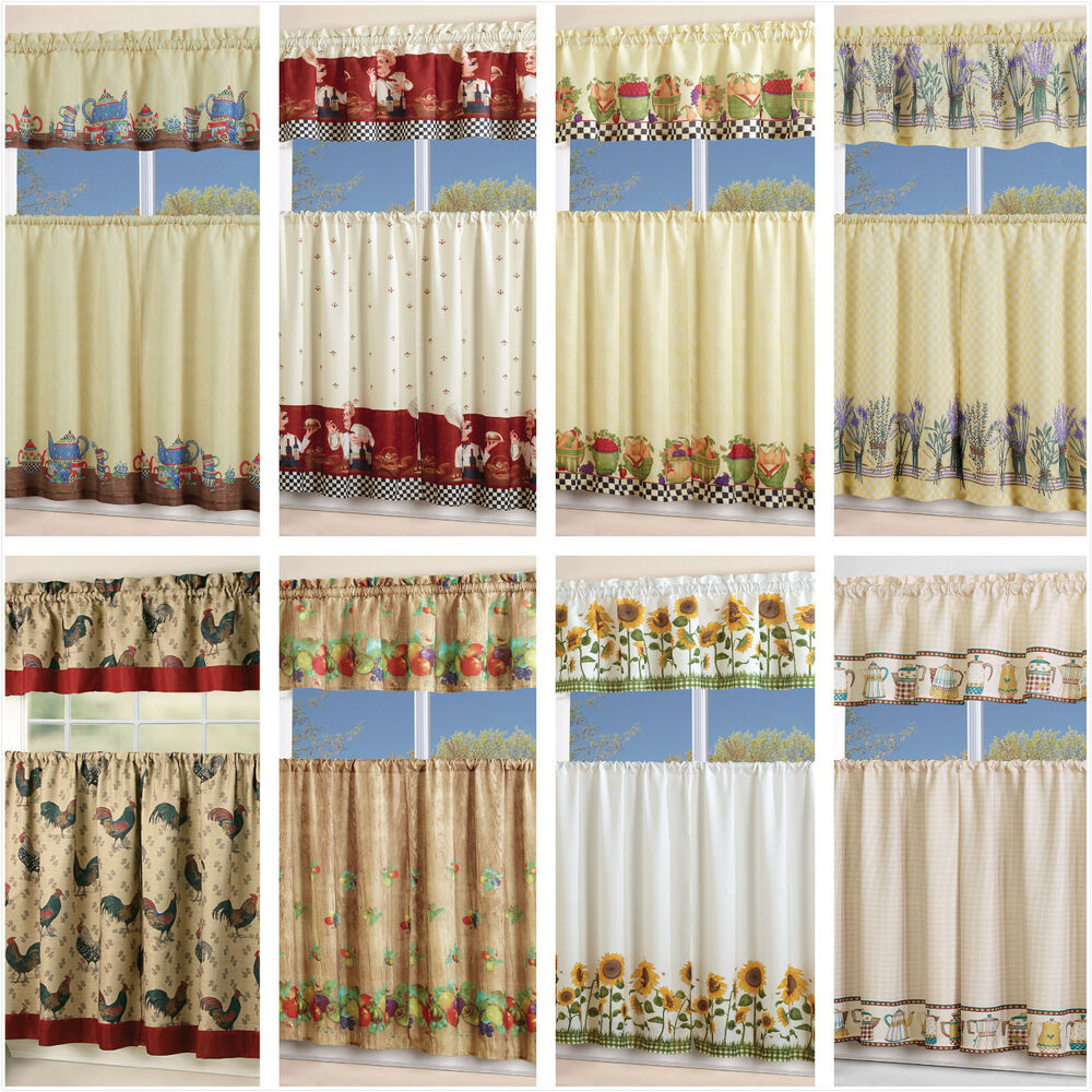 3 Piece Floral Kitchen Curtain with Swag and Tier Window