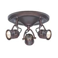 3-Light Track Lighting Antique Bronze Round-Base Pinhole ...