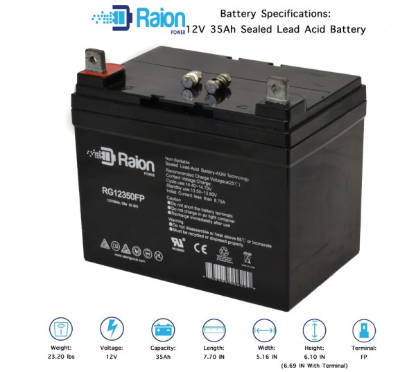 Raion Power Marine Deep Cycle Battery Agm 12v 35ah Minnkota Trolling