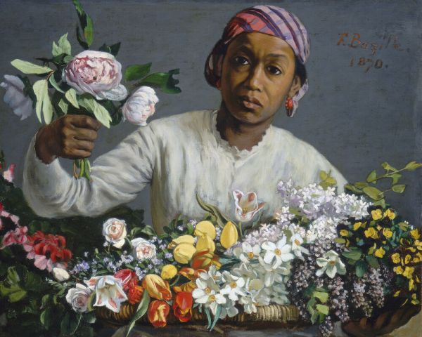 African American Woman Selling Peony Flowers Painting Real