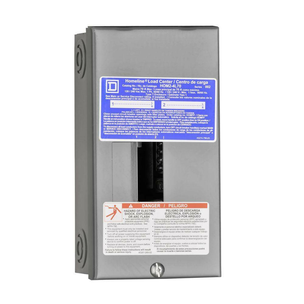 square d wiring diagram how does a water softener work square-d homeline 70-amp 2-space 4-circuit indoor main-breaker panel load-center | ebay
