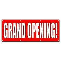 GRAND OPENING RED WHITE Banner Sign 2 ft x 4 ft w/4 ...