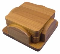 Bamboo Coasters Set of 4, with bamboo holder | eBay