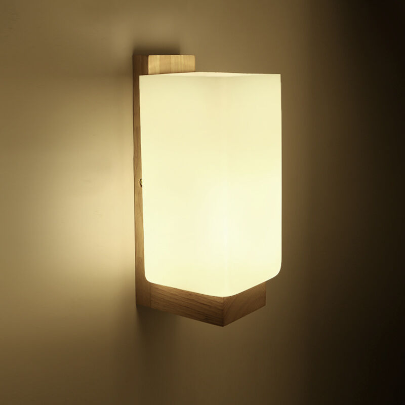 New Modern Wall Sconce Glass Wood Lamp Lights Hallway