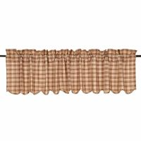 New Primitive Country Rustic Cabin BROWN PLAID VALANCE ...