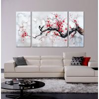 Japanese Inspired Wall Art Red Plum Blossom Hand Painted ...