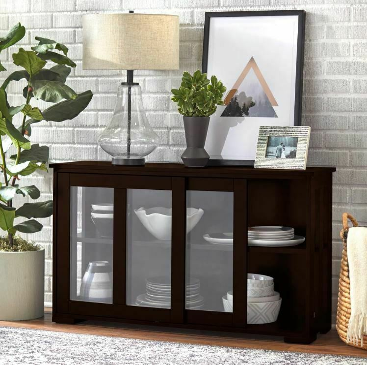 Glass Front Cabinet China Hutch Display Storage Shelves
