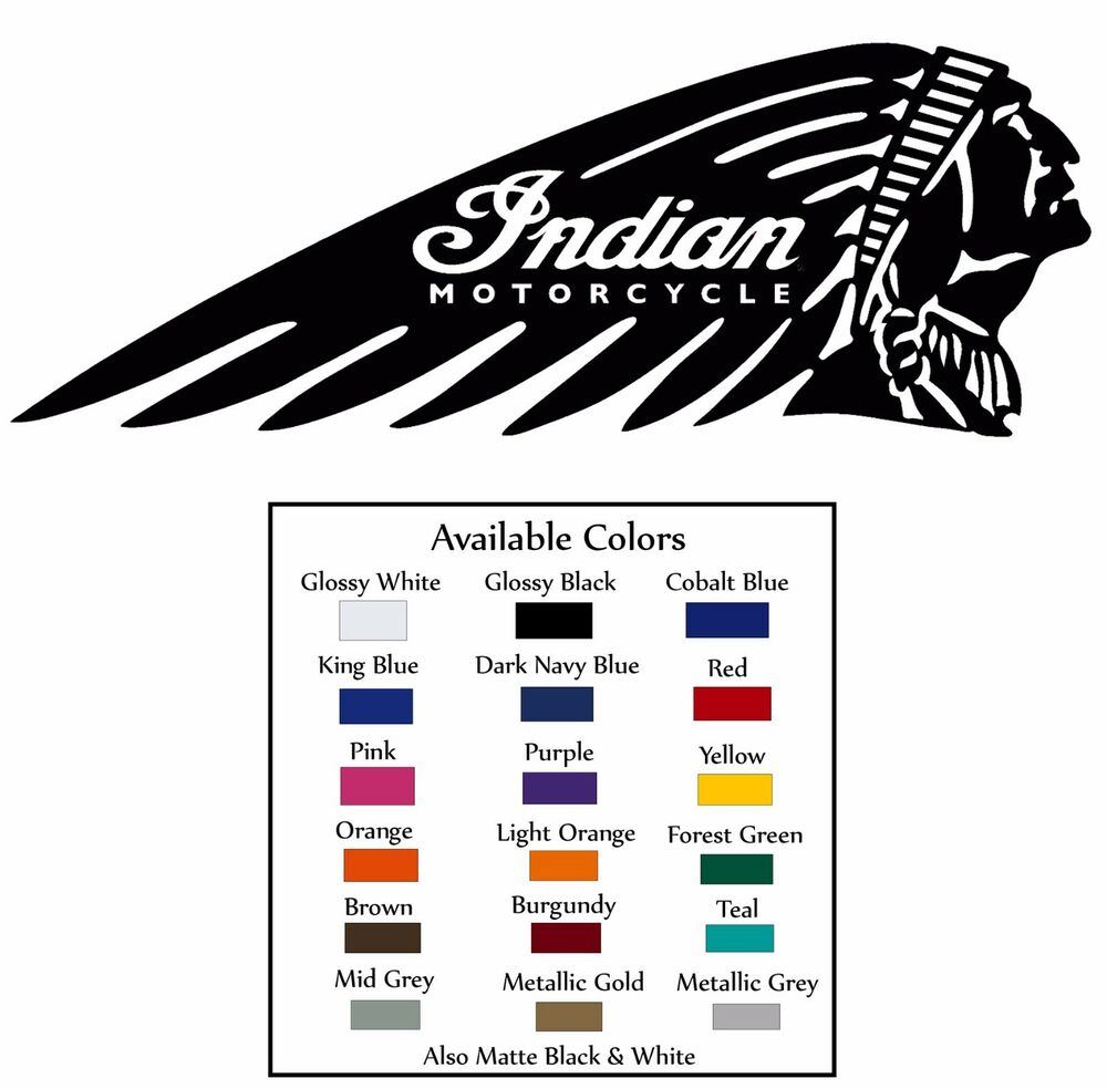 Indian Motorcycle Head Chief Scout Decal Diecut Sticker