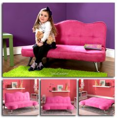 Child Sleeper Sofa Pop Up Pink Kids Girls Futon Couch Lounge Chair Chaise Detalles Acerca De Bed Play Room