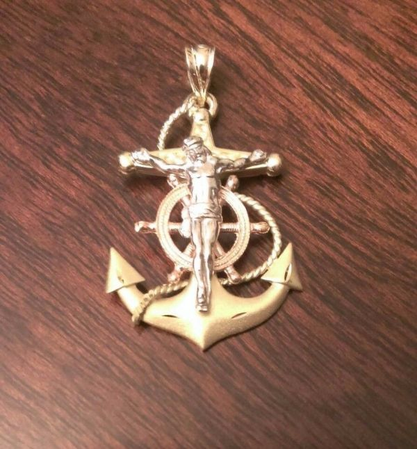 14k Solid Gold Tri-color Mariner' Anchor Crucifix Cross Charm Pendant 4.3 Gm