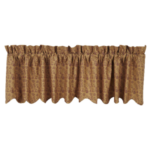 kitchen swag curtains lowes delta faucet new primitive country prairie print tan red ditsy floral ...