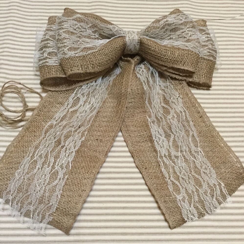 Burlap and Lace Pew Bow Vintage Chic Wedding Rustic
