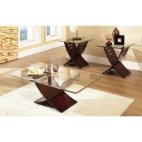 Coffee Table Set Glass Wood Modern Accent Rectangular ...