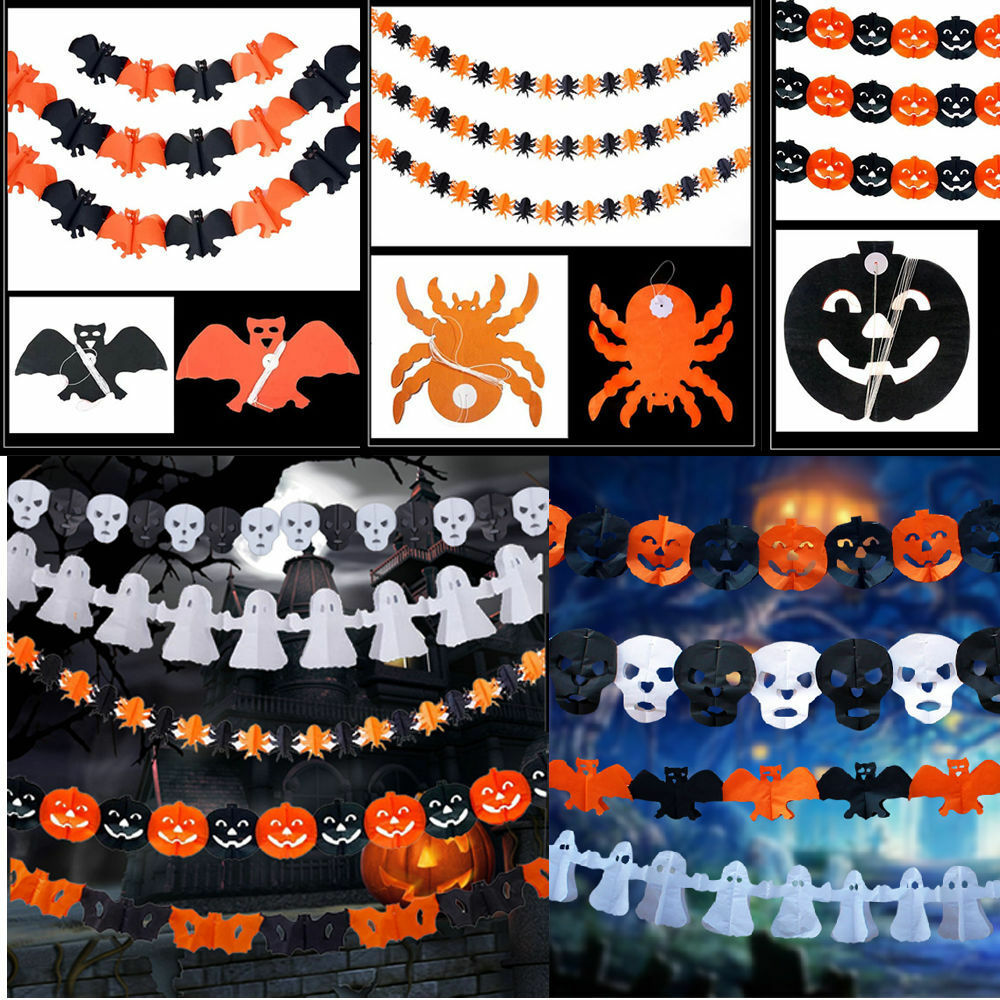 Scary Halloween Decoration Paper Garland Outdoor Yard
