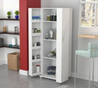 Tall Kitchen Cabinet Storage White Food Pantry Shelf ...