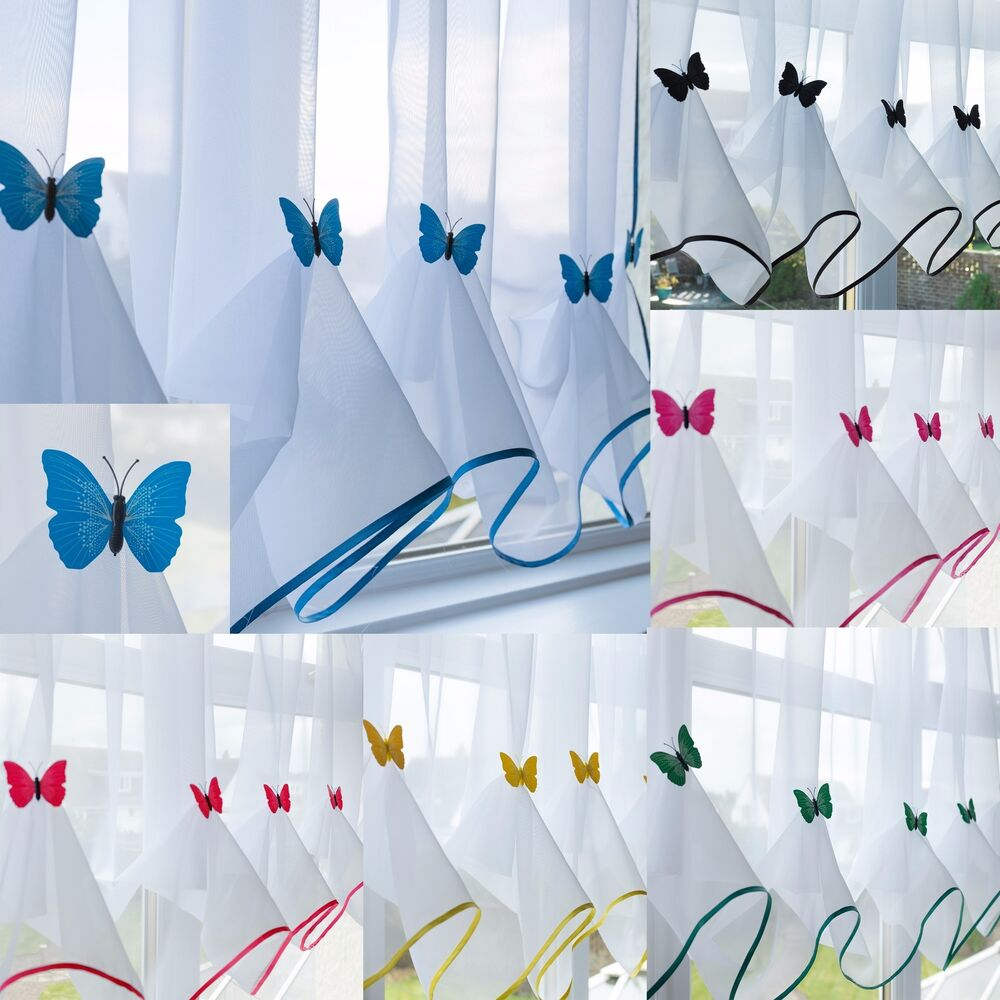 Butterfly Voile Curtain With Matching Piping  Kitchen