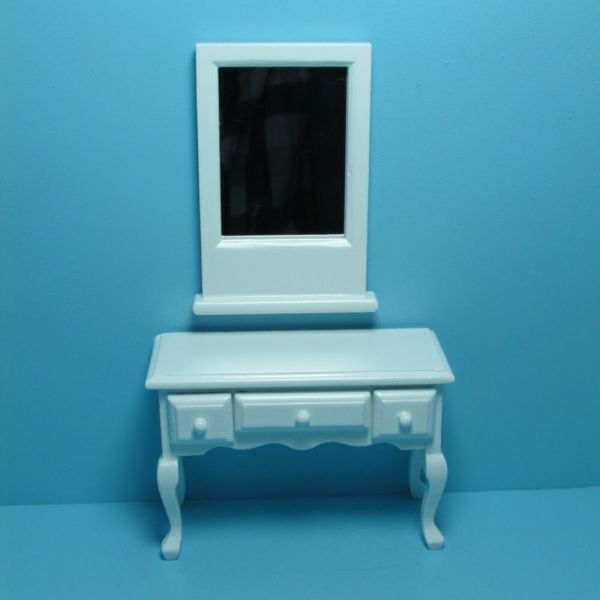 Dollhouse Miniature Vanity Table With Flip Mirror And