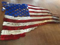 Hand Made Battle Worn Metal American Flag Wall Art - Candy ...