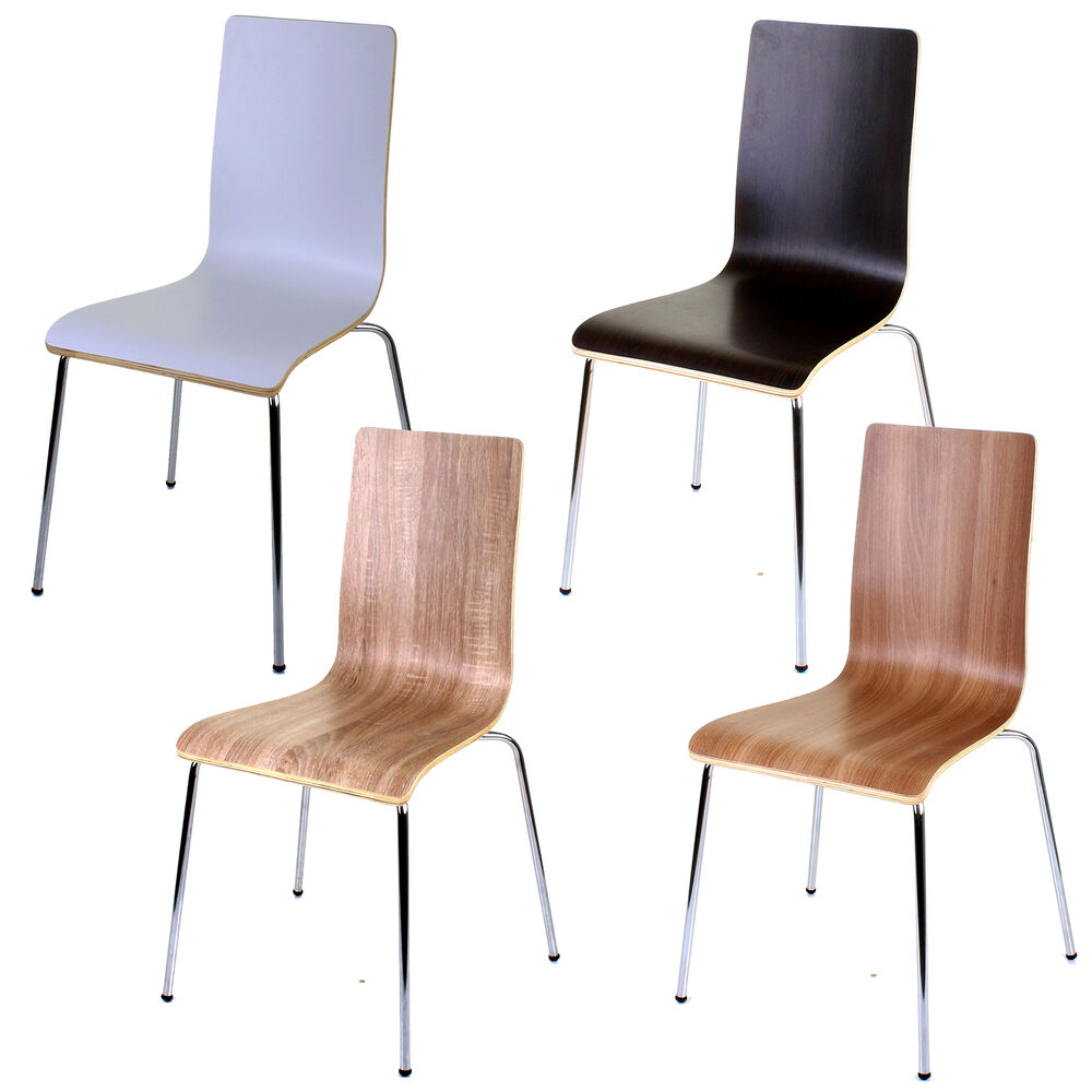 4 x WOODEN DINING CHAIRS STACKING CHAIR HOME OFFICE