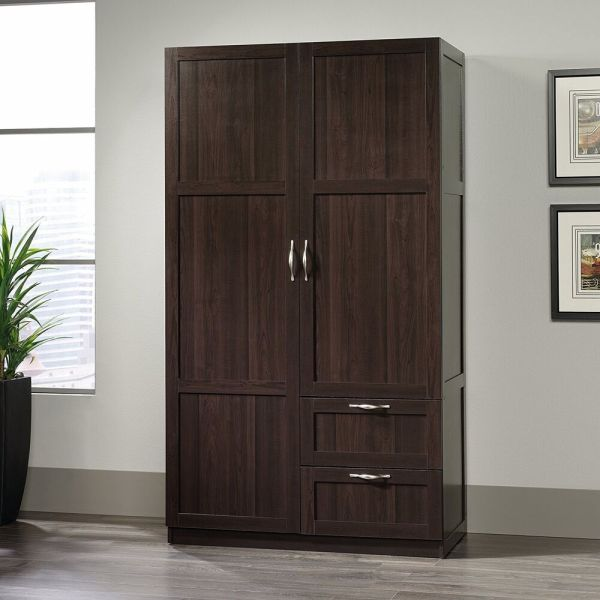 Storage Cabinets With Drawers Doors Wardrobe Closet Wood Clothing Armoire Cherry