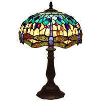 Bieye L11402 Tiffany Style Dragonfly Table Lamp with 12 ...
