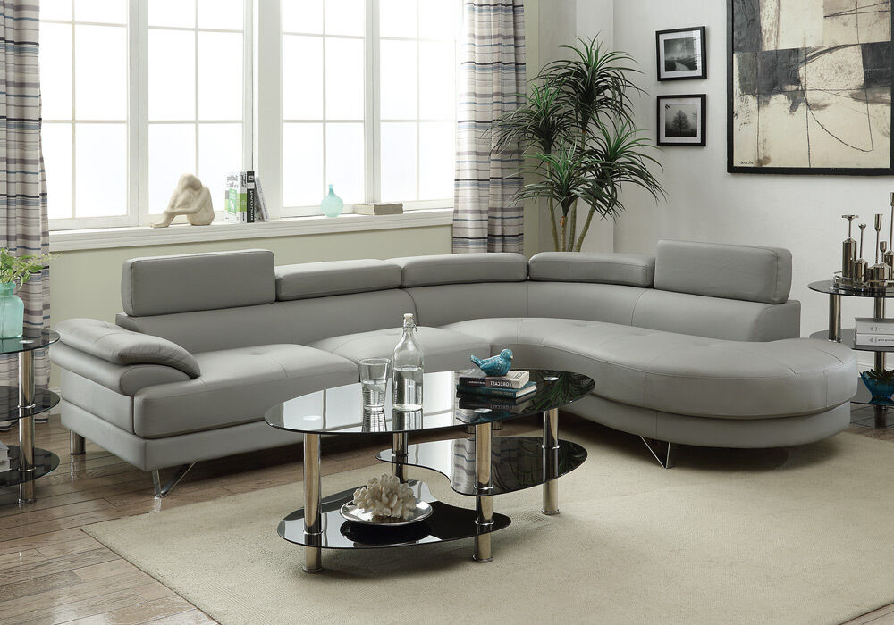 Living Room Curved Sectional Sofa Couch Round Chaise Grey Faux Leather Metal Leg  eBay