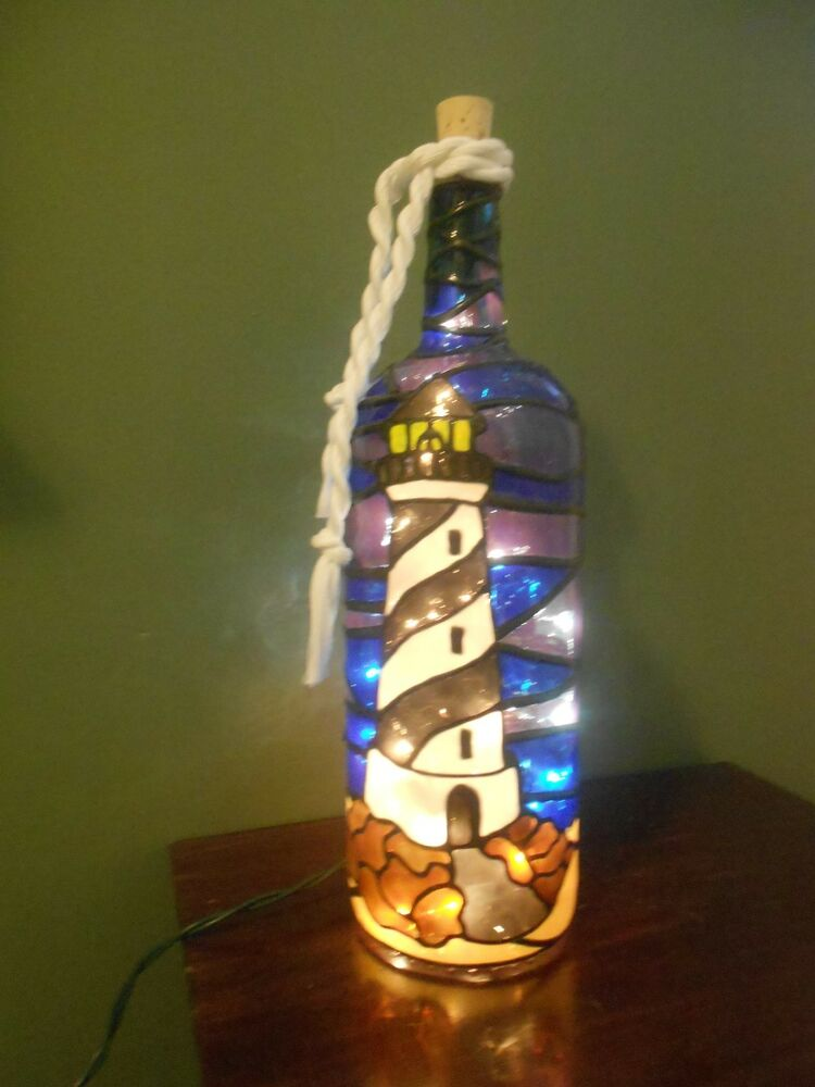 Lighthouse Wine Bottle Lamp Handpainted Lighted Stained