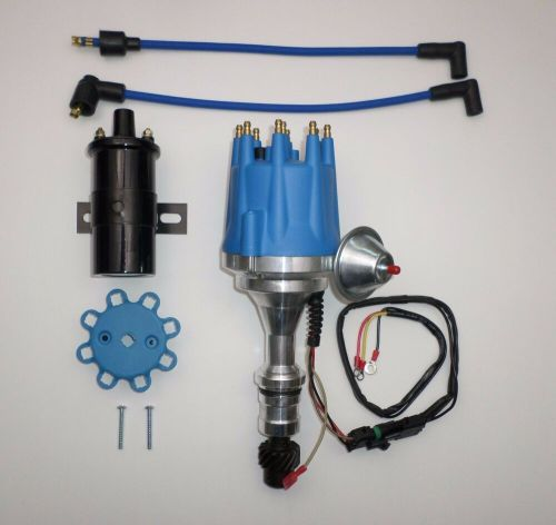 small resolution of small cap oldsmobile 350 400 403 455 pro series blue hei distributor black coil ebay